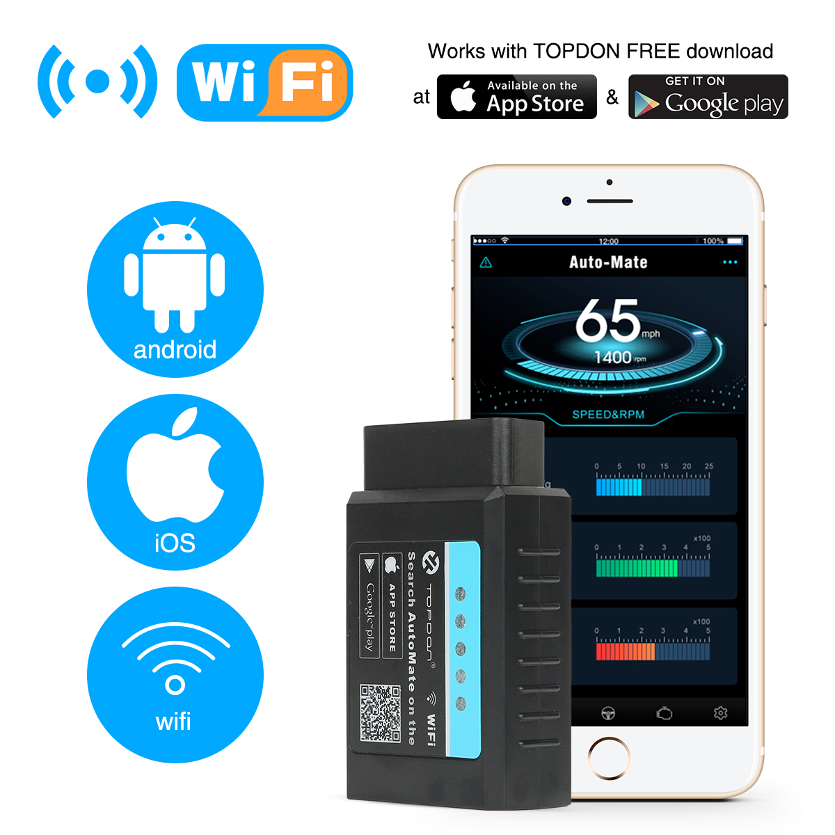 TOPDON AutoMate WiFi OBD2 Scanner Automotive Full Function