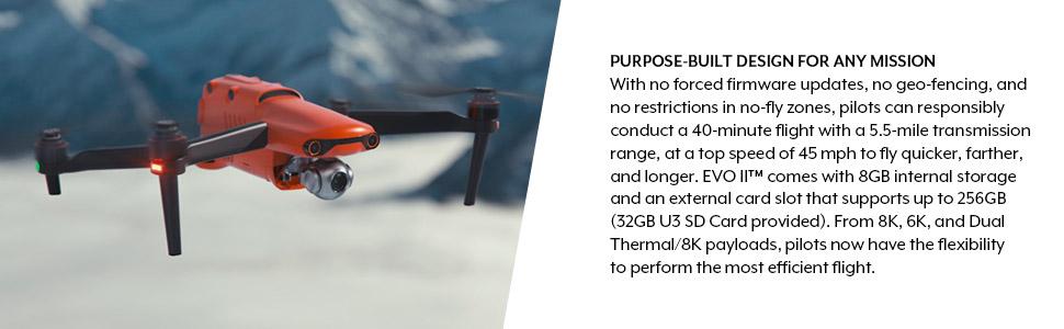 EVOII 8K drone design for mission