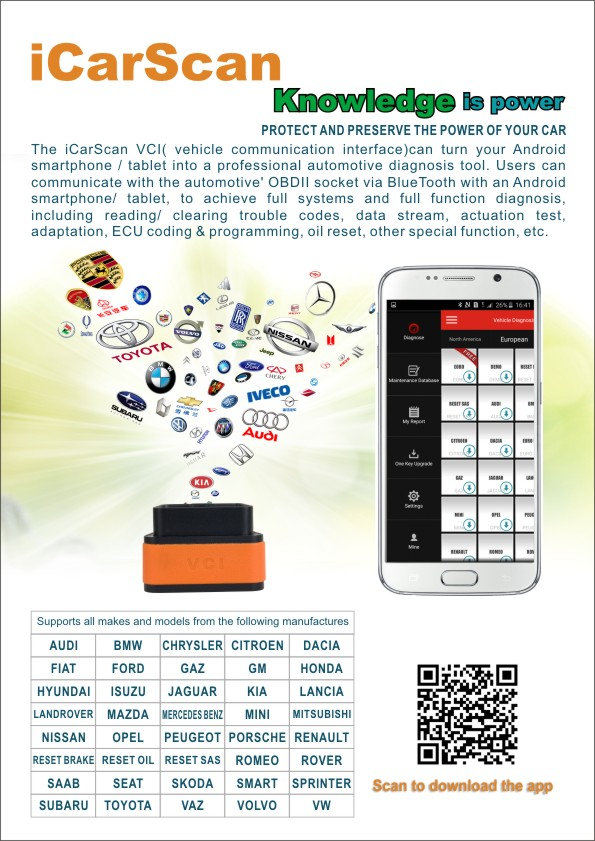 Launch X431 iCarScan Bluetooth Diagnostic Scanner for