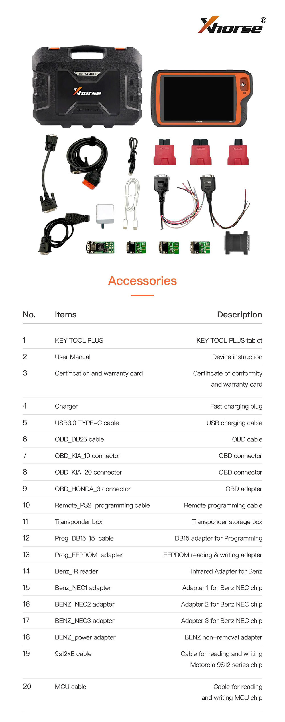 Xhorse VVDI Key Tool Plus Package List