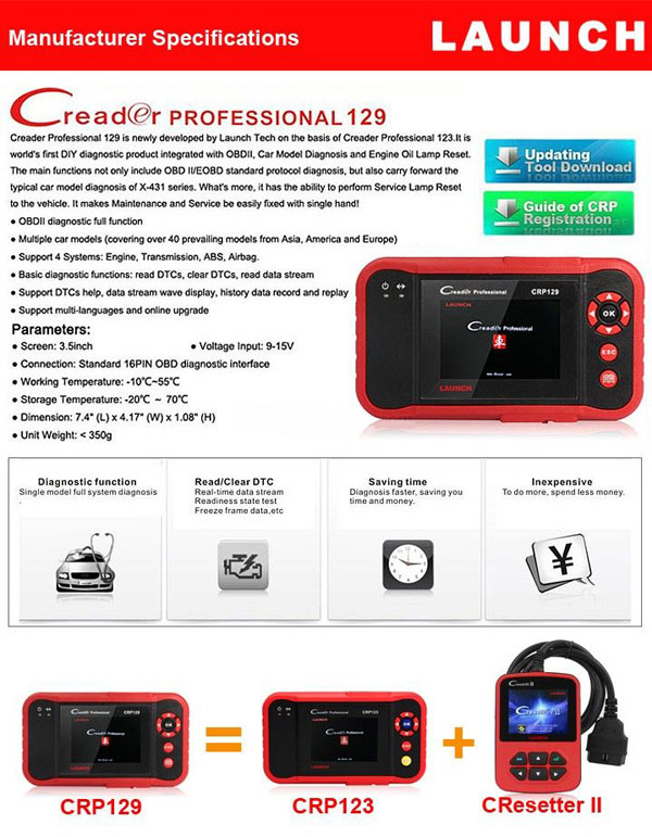 Original Launch CReader Professional 129 CRP129 Support 4 Systems Engine,Transmission,ABS,Airbag