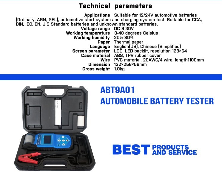 ABT9A01 Automotive Battery Tester with printer 2