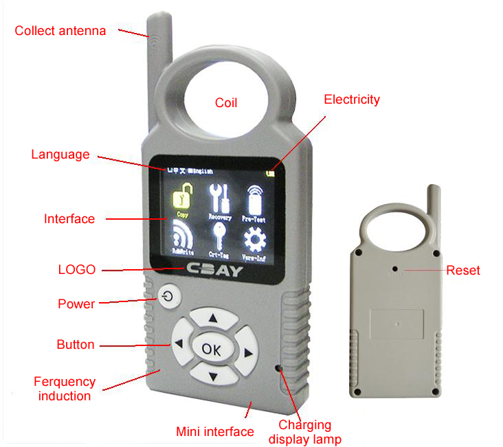 CBAY Hand-held Car Key Copy Auto Key Programmer for 4D/46/48 Chips