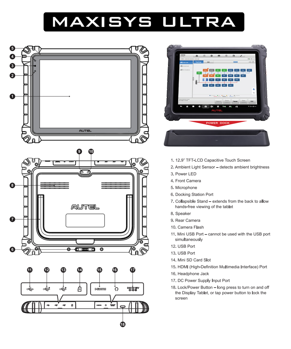 Autel MaxiSYS Ultra Diagnostic Tablet with Advanced VCMI
