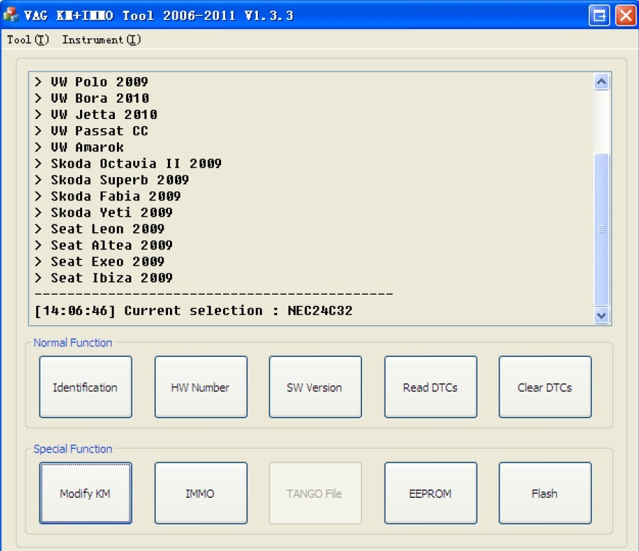 VAG KM+IMMO tool software display 1