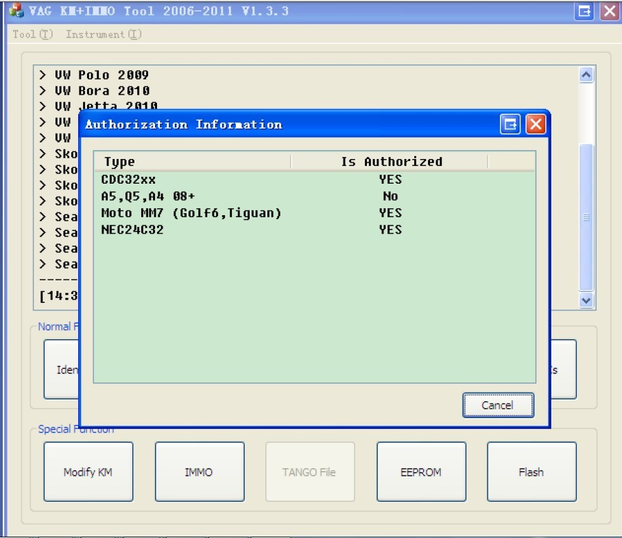 VAG KM+IMMO tool software display 8