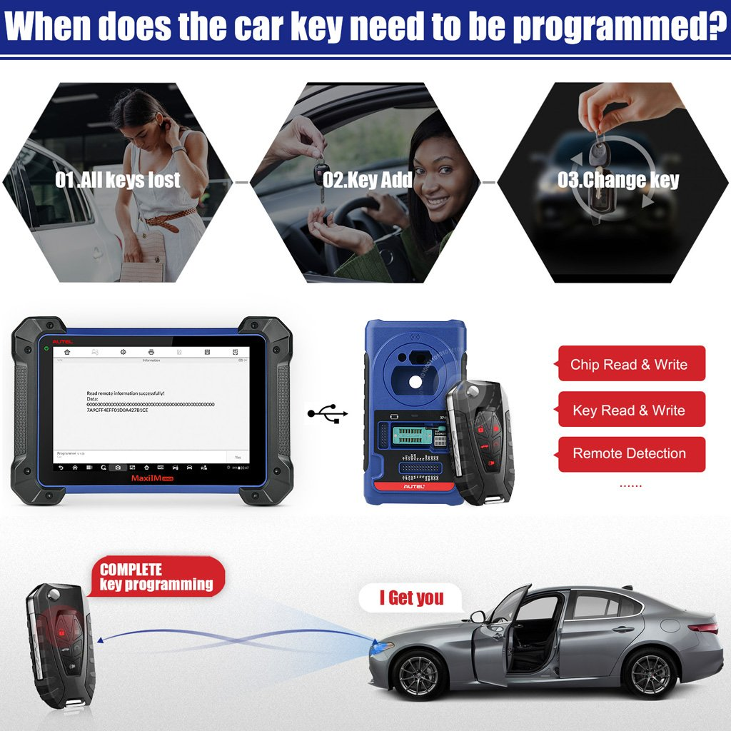 100% Original Autel MaxiIM IM608 Diagnostic Key Programming and ECU Coding Tool  Same as Auro OtoSys IM600 one Year Free Update