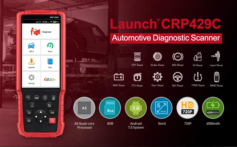 LAUNCH X431 CRP429C Auto Diagnostic tool for Engine/ABS/SRS/AT+11 Service CRP 429C OBD2 Code Scanner Better than CRP129