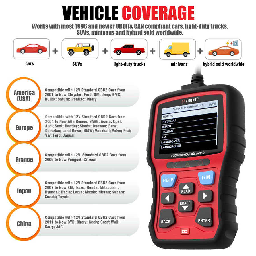 Vident iEasy310 OBD2 Scanner OBDII Code Reader and Car Diagnostic Tool OBD2 Automotive Scanner