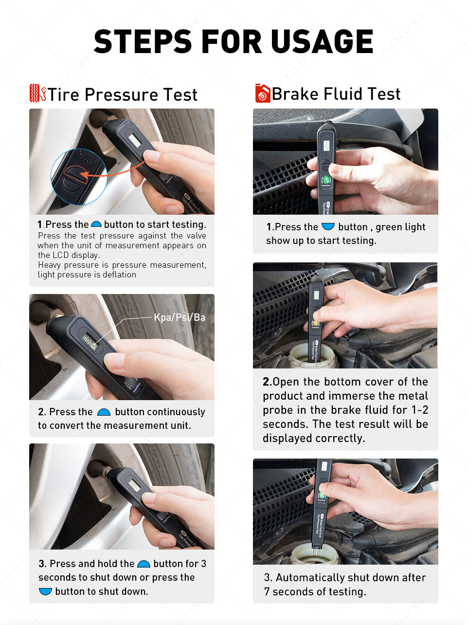 How to use Brake Fluid Tester And Tire Pressure Test 2 in 1